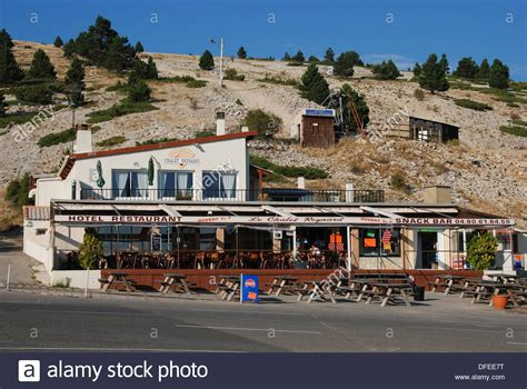 view of chalet reynard the cafe on the steep climb of mont ventoux stock photo royalty free