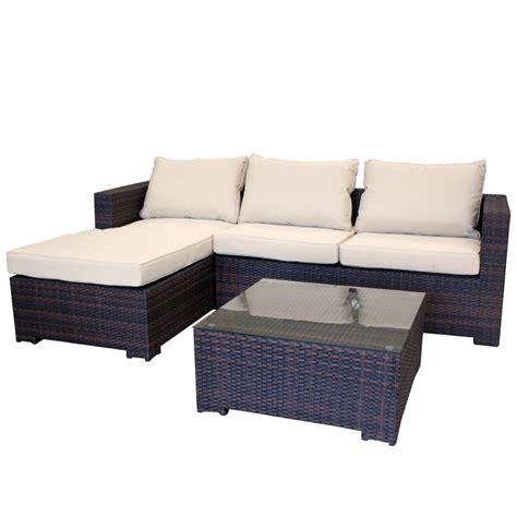 Garten Lounge Couch Aus Polyrattan Gartencouch Sofa Braun