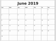 June 2019 Calendar Cute calendar month printable