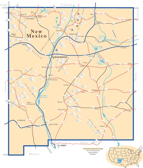 new mexico mountains map mexico map