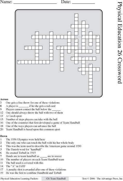 Physical Education 19 Crossword Answers  Best Education 2018