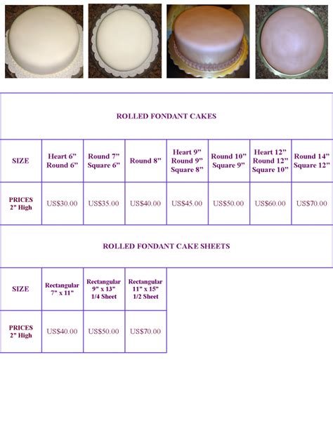 cake pricing chart www sweetsusy cakes fondant pricing chart