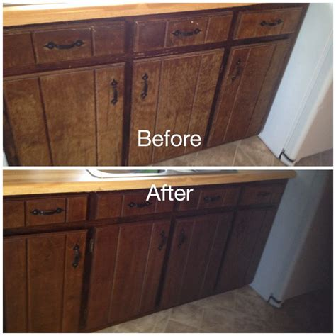 my worn kitchen cabinets stained with minwax gel stain in