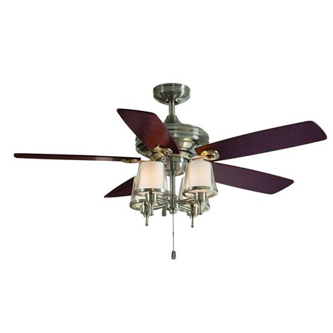 shop allen roth 52 in brushed nickel ceiling fan with light kit at lowes