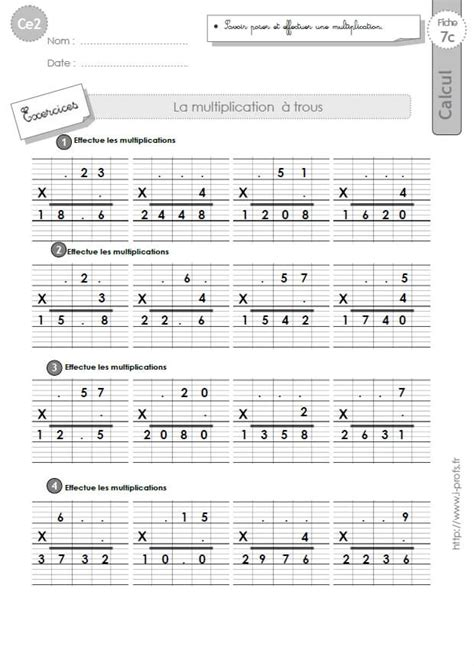 ce2 exercices corrig 233 s technique op 233 ratoire de la multiplication