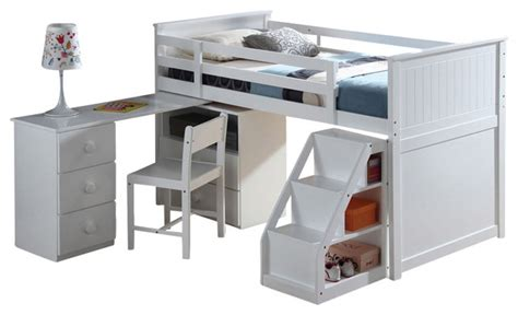 children s wood loft bed with pull out desk white