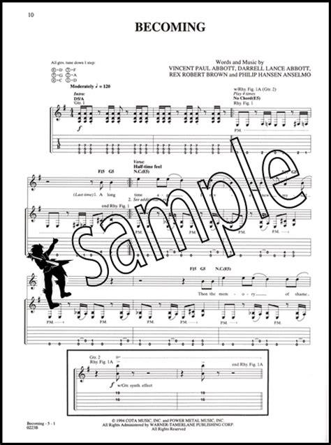 pantera guitar anthology series tab book dimebag