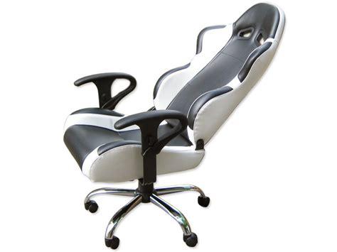 siege baquet fauteuil de bureau chaise de bureau baquet simili cuir noir blanc