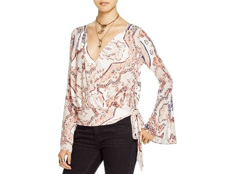 Free People Fiona's Paisley Print Wrap Top In Red