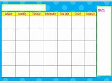 Printable Monday Through Friday Calendar Template