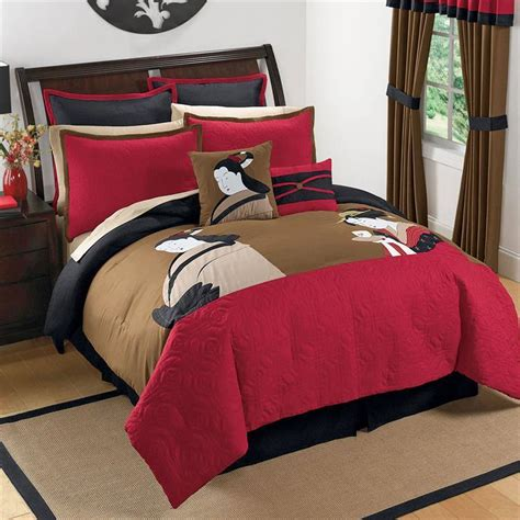 King Black Red Brown Asian Inspired Japanese Comforter. Two Person Shower. Rustic Birdhouses. Tv Shelves. Tile Brands. Bliss 101. Winwood Cabinets. Outdoor Bar Stool. Patterned Ceramic Floor Tile