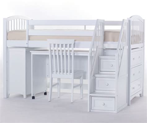 bedroom bunk beds with stairs and desk for rustic