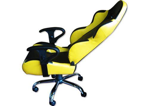 siege baquet fauteuil de bureau cuir jaune noir pied inox finition ebay