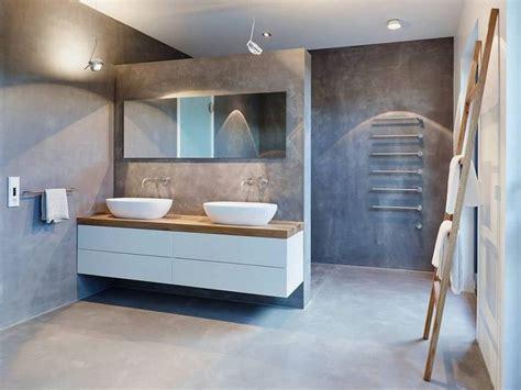 id 233 e d 233 coration salle de bain meubles blanc et bois clair salle de bains murs en b 233 ton cir 233