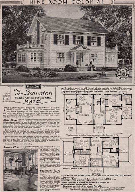 inspiring vintage house plans photo colonial revival 1923 sears kit house classic side