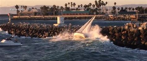 Redondo Beach Boat Crash Into Pier by 2 Men Dog Rescued After Sailboat Is Swept Into Rocks