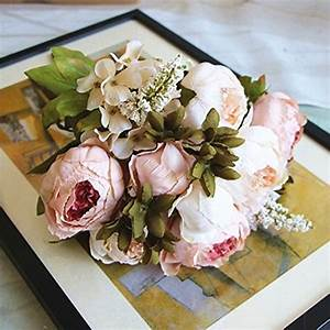 Shine-Co Artificial Peony Silk Flowers Bouquet Glorious ...
