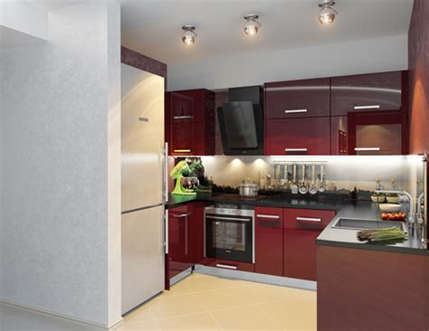 Kitchen Decorating Idea  Small Modern Kitchen In Red