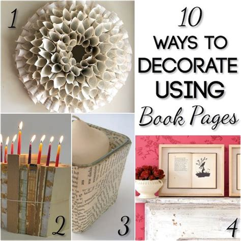 using book pages in home decor diy