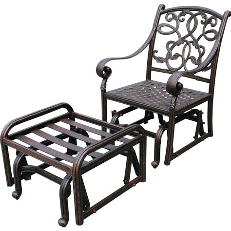 Patio Chair With Ottoman by Darlee Santa Cast Aluminum Patio Glider Club Chair