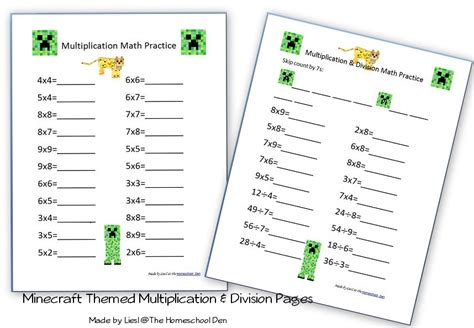 Multiplication & Division Pages With A Minecraft Theme  Homeschool Den
