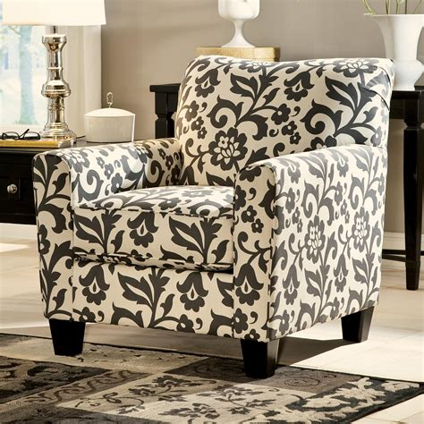 signature design levon charcoal accent chair in floral print dunk bright furniture
