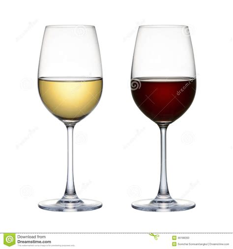 Red Wine Glass And White Wine Glass Isolated On A White