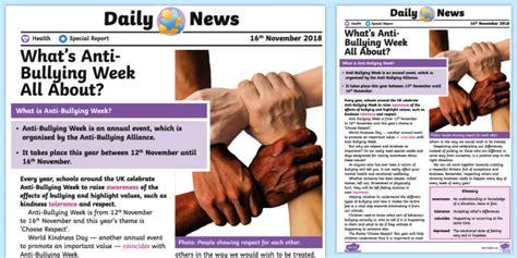 * New * Uks2 Antibullying Week Daily News Story Health