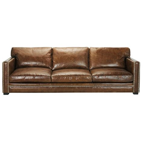 canap 233 4 5 places en cuir marron dandy maisons du monde