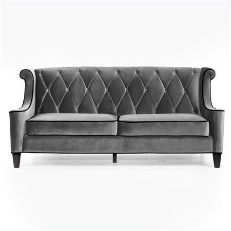 armen living barrister velvet sofa in gray lc8443gray