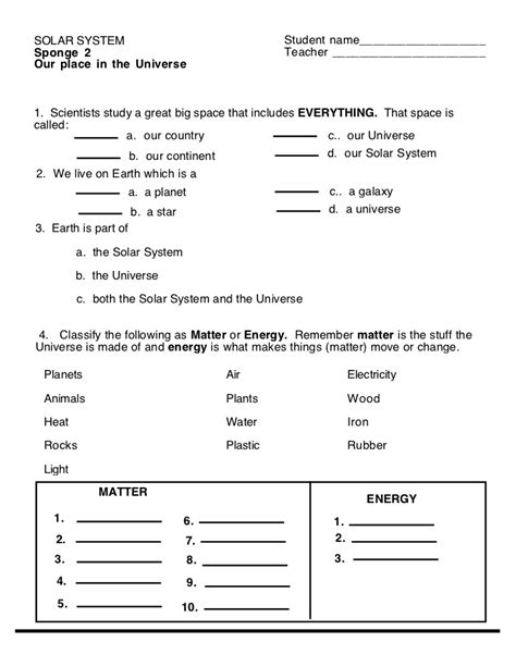 Solar System (worksheet 2