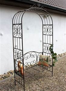 Pergola Mit Bank : rosenbogen mit bank 120852 aus metall 250cm gartenbank spalier pergola kletterhilfe dandibo ~ Markanthonyermac.com Haus und Dekorationen