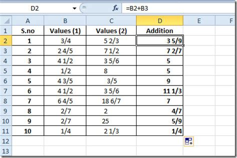all about fractions in excel 2010