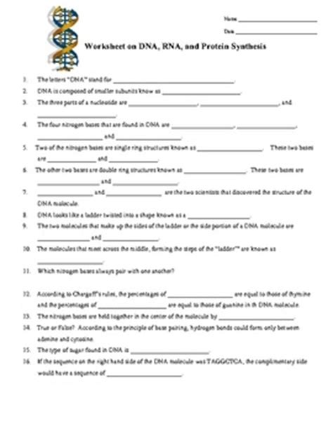 Dna, Rna, Protein Synthesis Worksheet  Study Guide