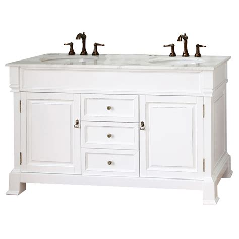 shop bellaterra home white rub edge 60 in undermount sink birch bathroom vanity with