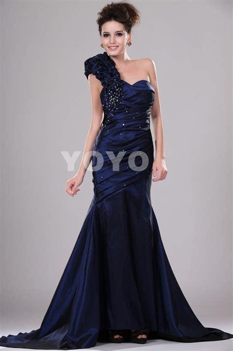 chic navy blue mermaid sweetheart one shoulder beading pleated robe de soiree modern
