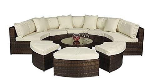 monaco large rattan sofa set semi circle with small