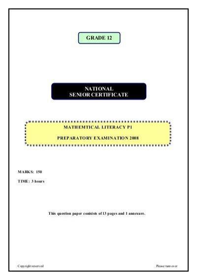 National Senior Certificate Grade 12  Maths Excellence