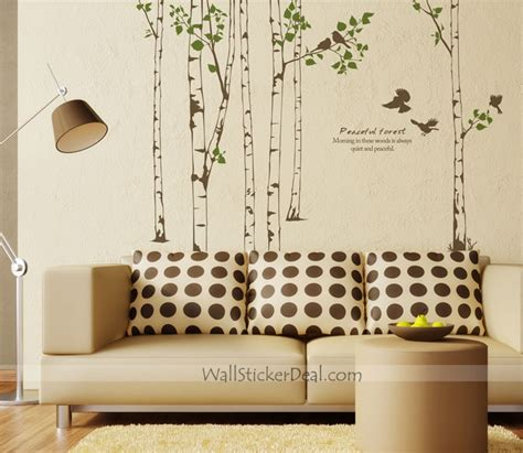 peaceful forest birch tree with birds wall decals home decorating photo 32810864 fanpop