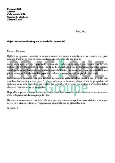 lettre de motivation pour un emploi de commercial