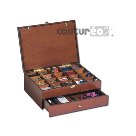 boite de couture bois fonc 233 personnalisable avec un tiroir int 233 gr 233 coutureo
