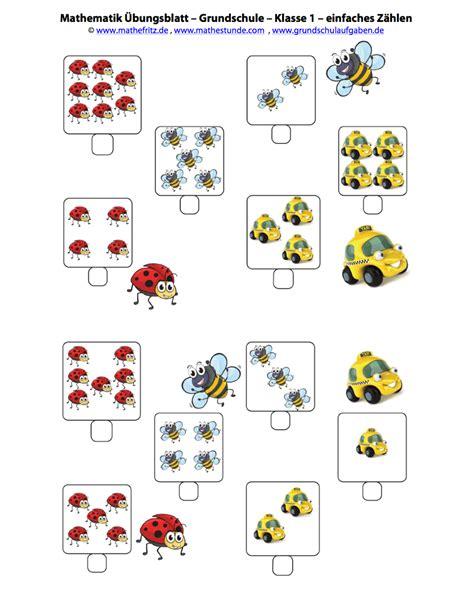 Arbeitsblatt einfaches Zählen bis 10  Matheaufgaben Klasse 1