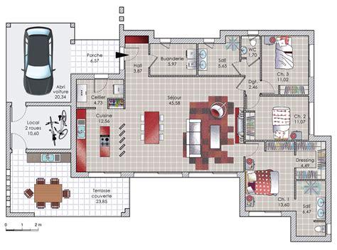 cuisine gorgeous plan maison en u plan maison en u avec piscine plan maison en u plain pied