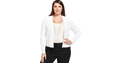 Jones New York Collection Plus Size Longsleeve Openfront Cardigan In White