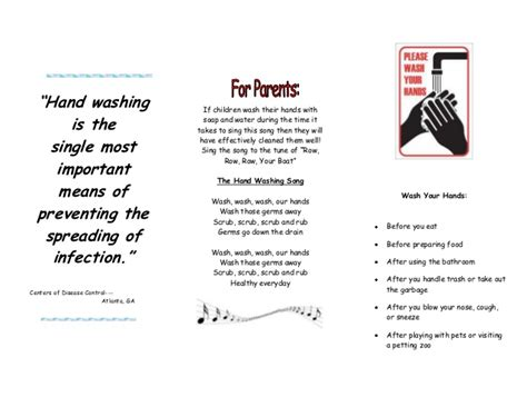 Wash Wash Wash Your Hands Song To Row Row Row Your Boat Lyrics by Handwashing Brochure
