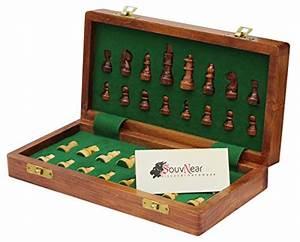 "Folding 12x12"" Chess Set with Bag - SouvNear Wooden ..."