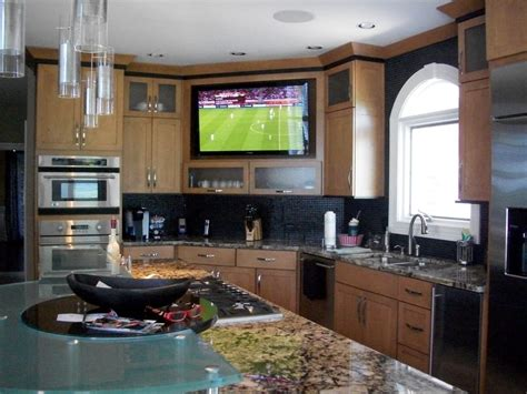 Large Builtin Tv In Kitchen  Yelp