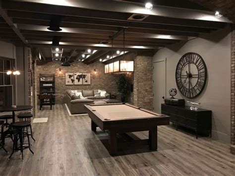 20 Amazing Unfinished Basement Ideas You Should Try Area Rug In Living Room How To Decorate A Large Wall Blue Curtains Round Rugs For Gray And Yellow Table With Storage Decorating Brown Leather Furniture Bench