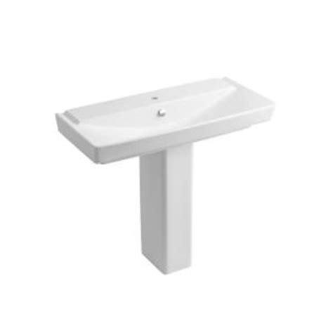 kohler reve 39 in pedestal bathroom sink combo in honed white k 5149 1 hw1 the home depot