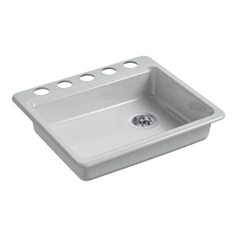 kohler riverby undermount cast iron 25 in 5 single basin kitchen sink in grey k 5479